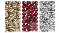 96 Gold Silver Red Shiny Matt Christmas Tree Baubles Balls Ornament Decorations