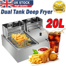More details for 20l commercial electric deep fryer twin fat chip dual tank stainless steel 5000w