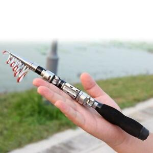 Mini Carbon Fiber Telescopic Pocket Fishing Rod Travel Spinning Pole Travel