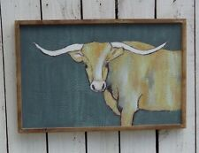 Longhorn wood framed canvas picture primitive farmhouse country home/wall decor