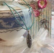 Silver Feather Pendant On Aqua Organza Ribbon STUNNING!