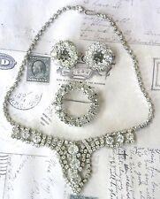 Vintage Weiss Necklace Earrings Brooch Parure Wedding Set  Clear Crystal Wreath