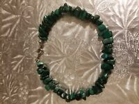 "Genuine Malachite stone bracelet, 7-1/2"", hand made"