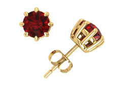 1.00 Ct Round Cut Ruby 14k Yellow Gold Over Stud Earrings