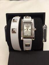 NIB Steve Madden Studded Wht Leather Dbl Wrap Ladies Watch SMW00026-03