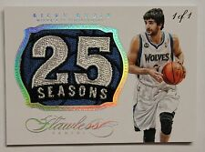 "AMAZING 2013/14 Flawless Ricky Rubio SICK PATCH ""25 SEASONS"" 1/1 TIMBERWOLVES !!"