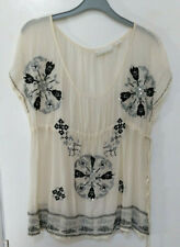 Kimchi & Blue top cream sheer embroidery & sequin detail L Festival, boho,