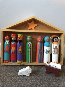 Painted Wooden Nativity Scene Set In Stable