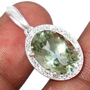 Green Amethyst, Brazil & White Topaz 925 Sterling Silver Pendant Jewelry BP81941