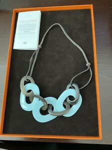AUTHENTIC HERMES HORN AND LACQUERED WOOD NECKLACE