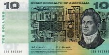 1967AUSTRALIAN $10 COOMBS/RANDALL aEF PLUS VERY SPECIAL SERIAL NUMBER SEB 880880