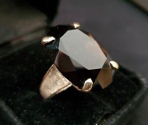Heavy Vintage 18k Gold Smoky Quartz Solitaire Ring ~ Sz 8 ~ 14.3 grams