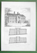 ARCHITECTURE PRINT : France Victorian Villa Perspective View + Plans