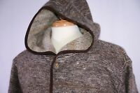 Setball Men's Hooded Cardigan Sweater Size XL Italy Patches Leather Trim Hipster