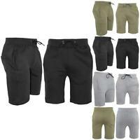 Mens Plain Pockets Sweat Running Gym Knee Length Fleece Stretchy Bottoms Shorts