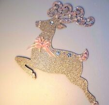 Shabby Christmas Cottage Chic Door Wall Decoration Pink Gold Deer Reindeer New #