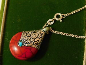 Ethnic Faux Red Bamboo Coral Pendant Sterling Silver Chain 11c 56