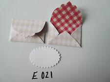 Set of 2 E021 Cream and Beige Harlequin Print Unique Handmade Envelope Gift Tags