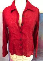 J. Jill button front long sleeve Shiny shirt blouse top Sz S long Red tunic