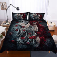Skull Duvet Cover Set Twin Full Queen King Size Gothic Bedding Set Floral Rose