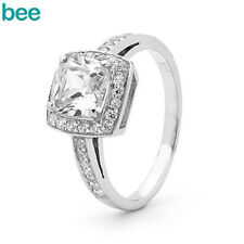 ENGAGEM Simulated Diamond 925 Sterling Silver Solitaire with Accents Rings