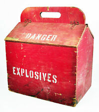 LARGE Old Red Dynamite Mining Explosives Danger Wood Powder Box Antique Wooden