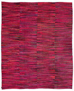 American Striped Red, Blue, Brown and Orange Handwoven Wool Rag Rug BB2765