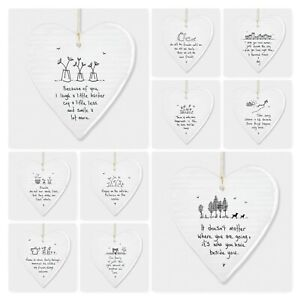 East of India Wobbly White Porcelain Heart with Sayings Sign Friends Gift 10cm