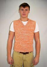 Vintage 70's Men's Orange White 100% Acrylic Knit Sweater Vest by Rink's  Size L