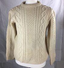 Aran Fisherman Womens Hand Knit Wool Warm Sweater Cable Knit Size L Xl EUC