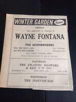 F9-1 Ephemera 1965 Advert Winter Gardens Cornwall Wayne Fontana Mindbenders