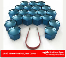 Blue Wheel Bolt Nut Covers GEN2 19mm For Lancia Flavia 12-16