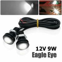 1 Pair 18mm 12V 9 LED Round Daytime Running Light DRL Car Fog Day Driving Lamp