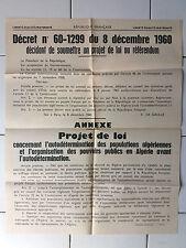 Affiche ancienne - Autodétermination Algérie - Décret 1960