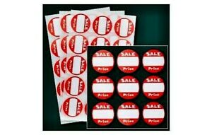 """100 RED + WHITE Adhesive Labels """"SALE"""" Garage Price Tags Stickers 1"""" inch Round"""