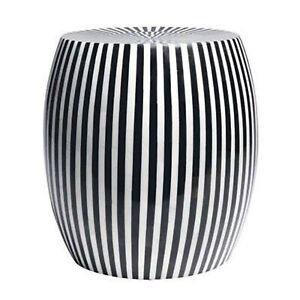 Maaya Bone Inlay Round drum Side Table Black Striped L (MADE TO ORDER)