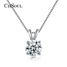 Elegant Women Round CZ Crystal Pendent Necklace Chain Silver Plated Jewelry Gift