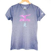Mizuno Women's V-Neck Softball T-Shirt Size Medium Grey Short Sleeve Logo