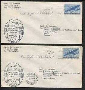 Lot De 2 'Air Courrier Housse Vols New York To France Geneve Paris 1944 Tampon #