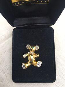 Cute Teddy Bear Brooch, Shiny Gold Tone with Diamante Paws Bow & Ears Green Eyes