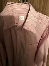 ARMANI COLLEZIONI Long Sleeve Men's Dress Shirt Striped Pink shirt size l