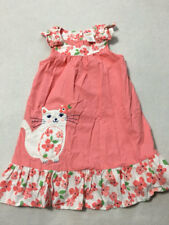 Gymboree 3T Cherry Blossom Pink White Floral Kitty Cat Applique Dress