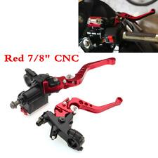 Pair 7/8'' Motorcycle Handlebar Brake Clutch Master Cylinder Lever Reservoir Red