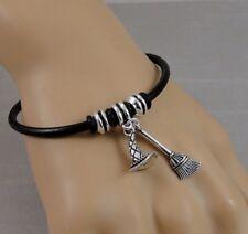 Halloween Witch Bracelet - Witch Hat & Broom Charm Bracelet - Black Leather Cord