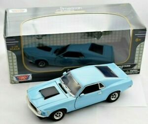 1:18 MotorMax American Classics 1970 Ford Mustang Boss 429 - Pale Blue BOXED