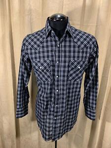Mens Plains Western Shirt M Black Plaids L/S Poly/Cot Snaps Rodeo Rockabilly