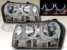 05-09 Chrysler 300 Dual CCFL Angel Eye Halo Headlights Chrome Pair Halogen Type