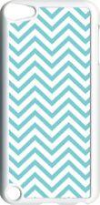 Aqua Blue Chevron Design on iPod Touch 5th Gen 5G White TPU Case Cover