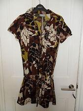 Lovely Wallis Summer Short Sleeved Cotton Shirt Mini Dress / Long Top Size 10