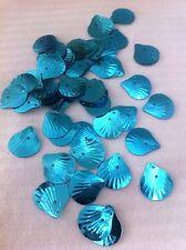 Sequins Shell Fan Turquoise Ocean Blue Metallic 14mm Read Description